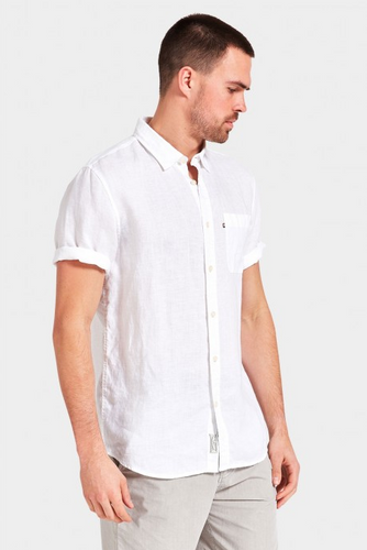 Hampton S/S Linen Shirt - White
