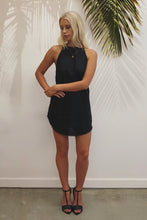 Tulum Halter Dress - Black Linen