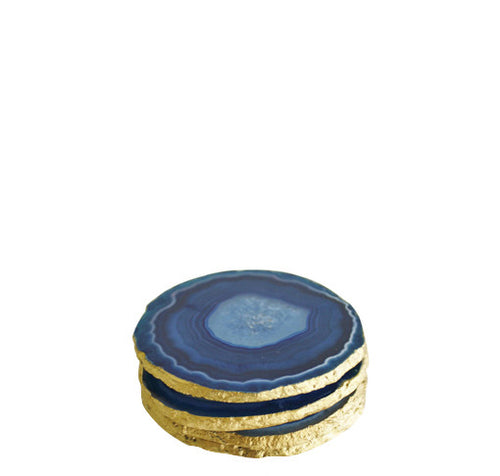 Agate Coasters - Blue/Gold