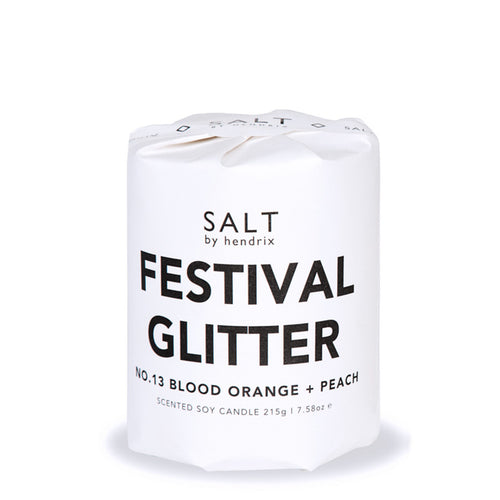 The Festivals & Glitter No.13 Blood Orange & Peach Soy Candle is a vegan, hand poured candle and is perfect for festival vibes.