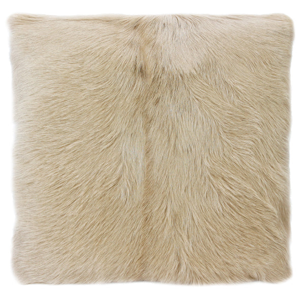 The Goat Fur in Blonde square 50cmx50cm adds texture to any room, giving a luxe-western feel.