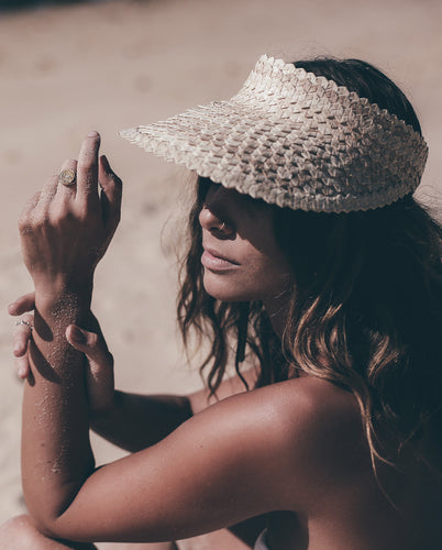 The Bahamas Visor in Blonde is a hand-woven straw hat that will get you through those sunny days.