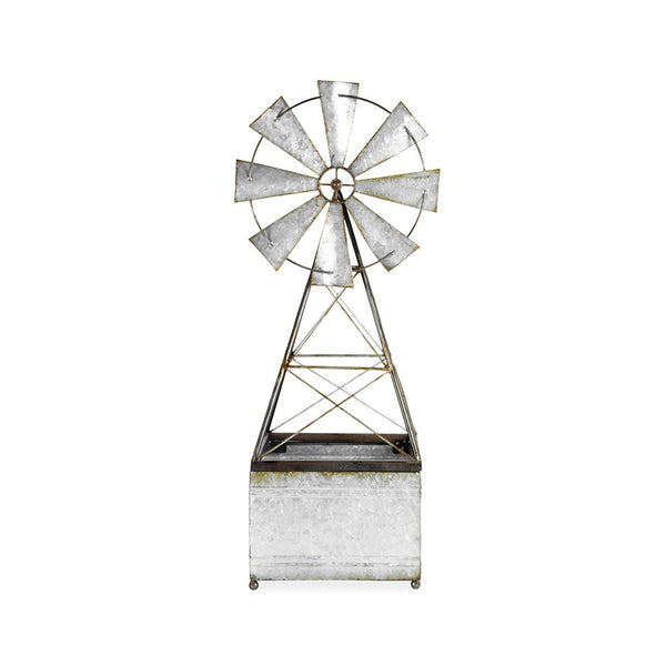 Galvanised Windmill Planter
