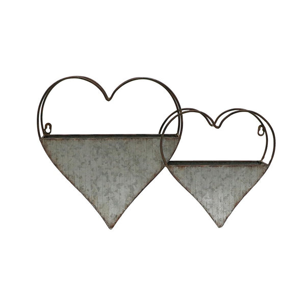 2-Hearts Wall-hanging Galvanised Planter