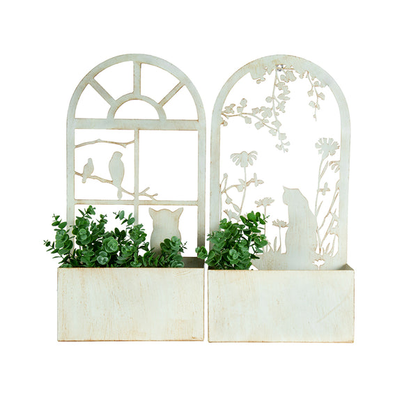 Laser-cut Cat Silhouette Wall Planter - Set of 2