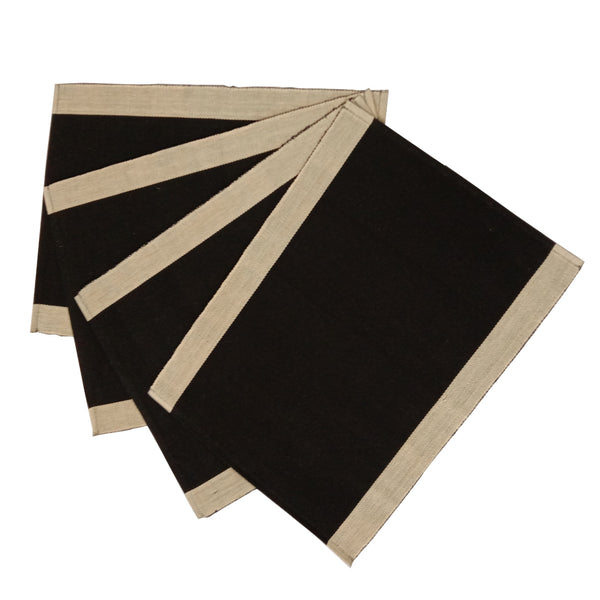 Set of 4 Black & Cream Cotton Table Mats