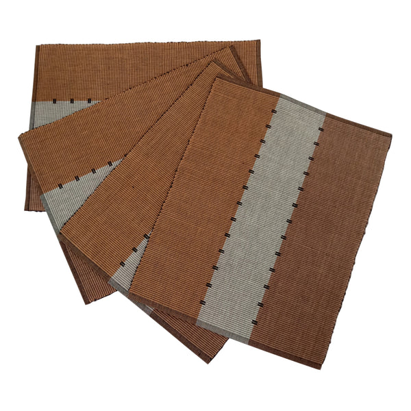 Set of 4 Brown Cotton Table Mats