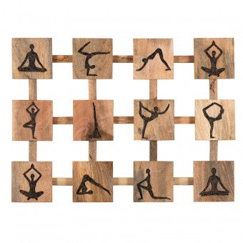 Hand-Carved Yoga Panel Wall Art