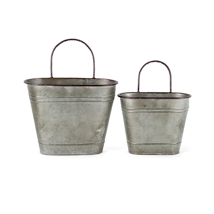 Galvanised Oval Wall Planters - Set of 2