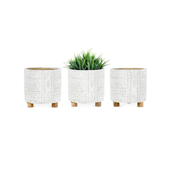 Hamptons Free Hand Round Pot Planter with Legs - Set of 3