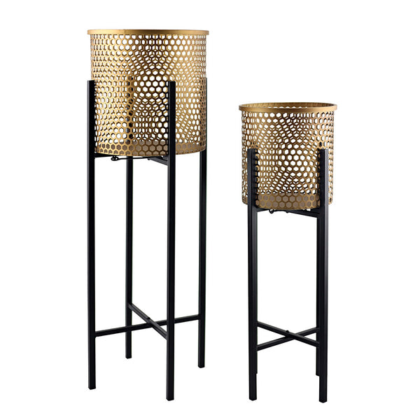 Luxe Gold & Black Stilted Beehive Planters Set of 2