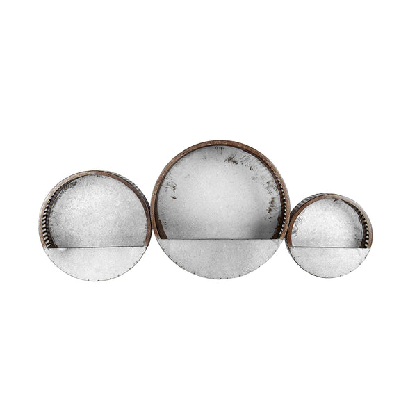 Elemental Galvanized Rust Hole Punched Round Planter Set of 3