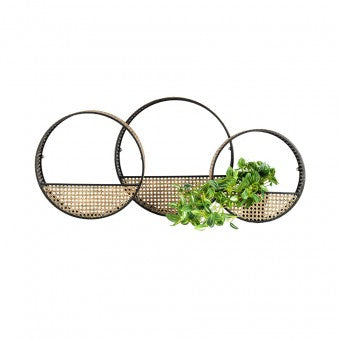 Nested Rattan Look Wall Planter - Set of 3