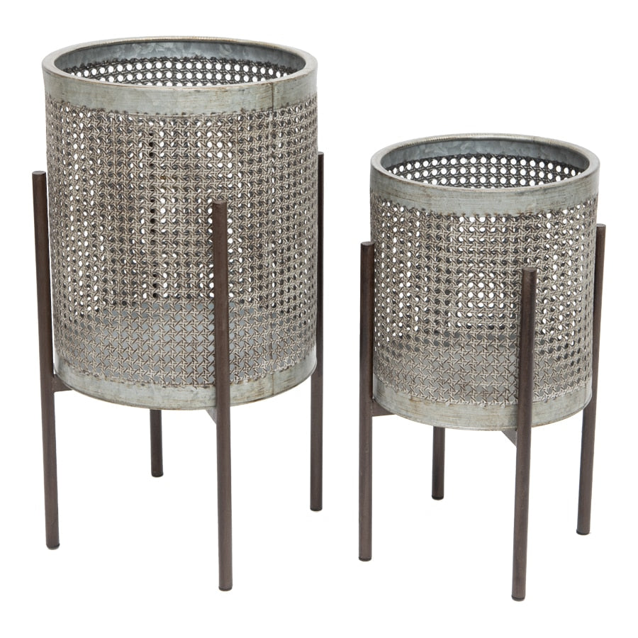 Galvanized Basket look Artisan Stilted Pot Planters - Set of 2