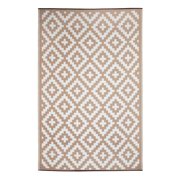Aztec Beige and White Recycled Plastic Rug