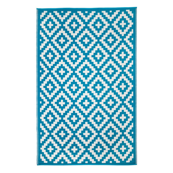 Aztec Teal Blue and White Recycled Plastic Rug