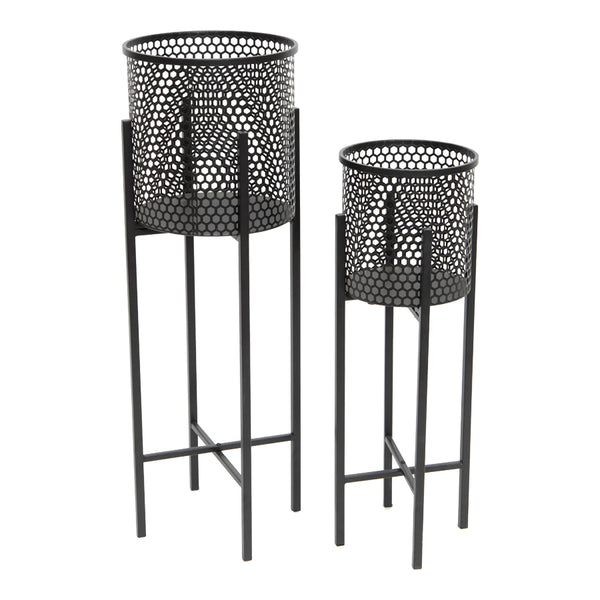 Black Stilted Beehive Planters Set of 2