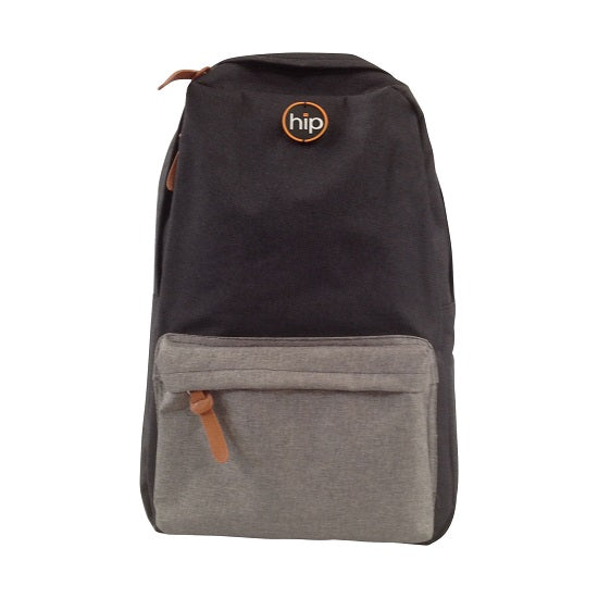 Back Pack Canvas Front Pocket BLACK GREY