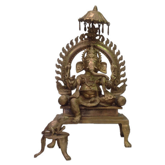 Brass Ganesh with Umbrella