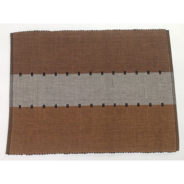 Set of 6 Brown Cotton Table Mats
