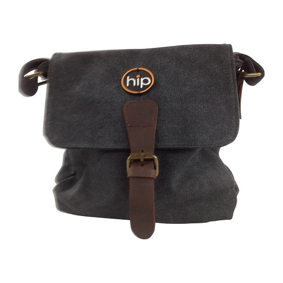 Canvas Leather trim Cross body Bag Charcoal