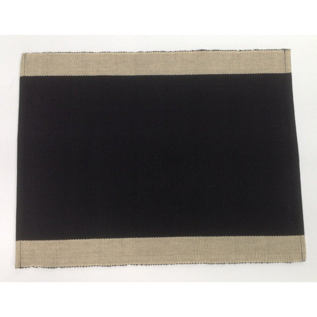 Set of 6 Black & Cream Cotton Table Mats