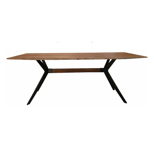 Cross Oak Dining Table (200cm) - Teak Finish