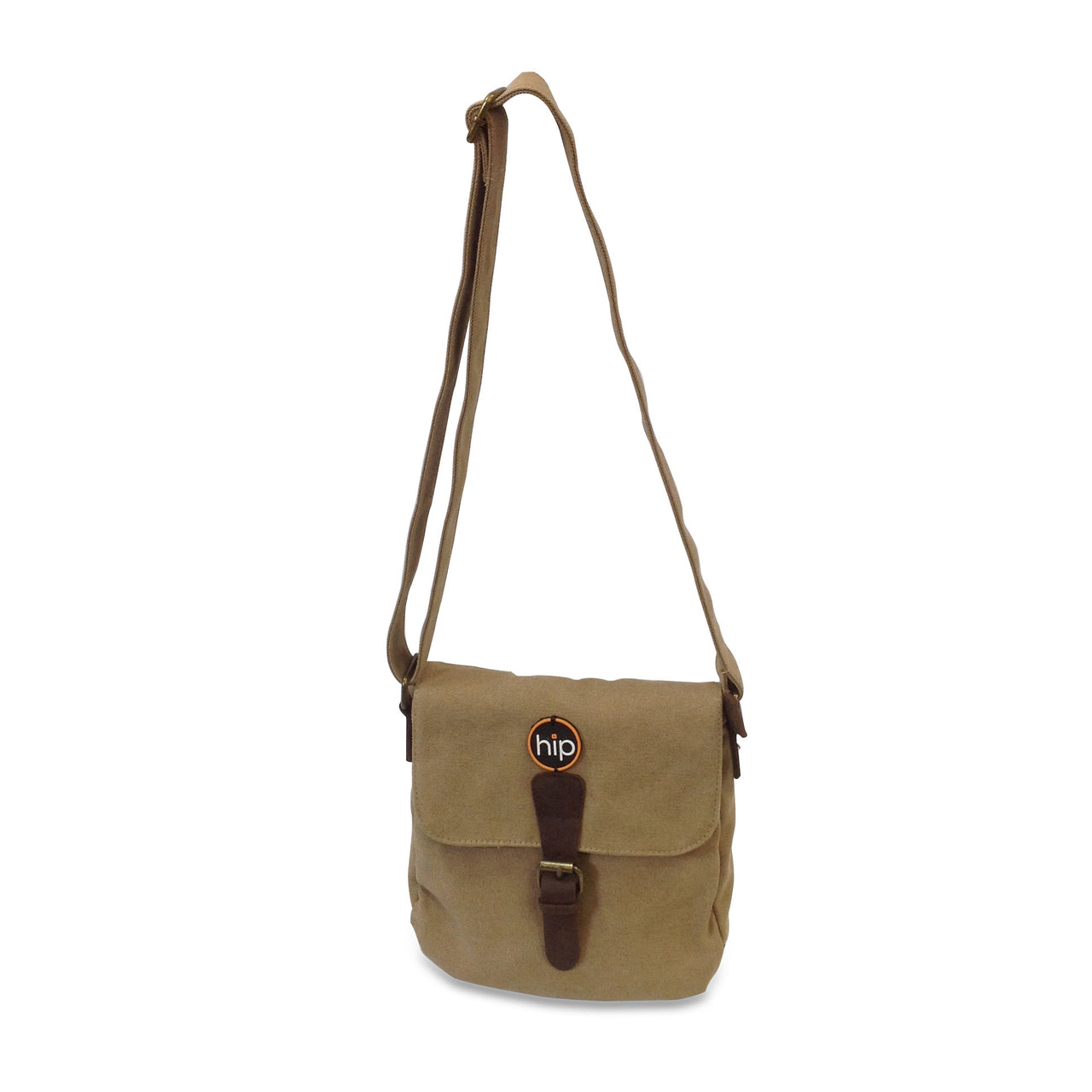 Canvas Leather Cross Body Bag Khaki