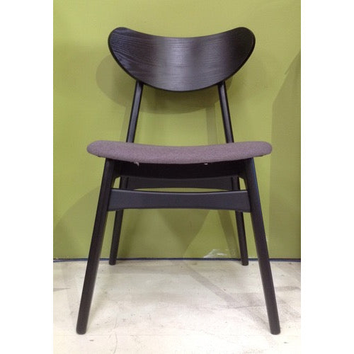 Finn Dining Chair - Black (Mushroom Fabric)