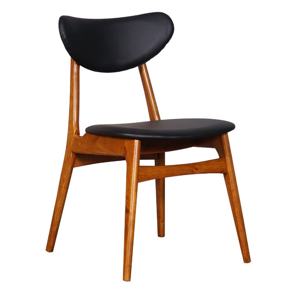 Falk Dining Chair - Teak stained Frame with Cushion PU back and seat