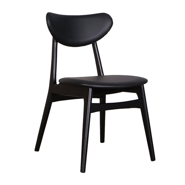Falk Dining Chair - Black timber Frame with Black Cushion Back and Seat