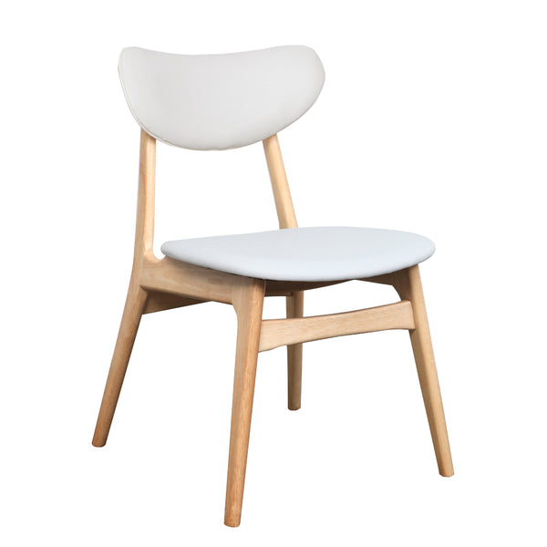 Falk Dining Chair - Natural frame with PU Cushion Back and Seat