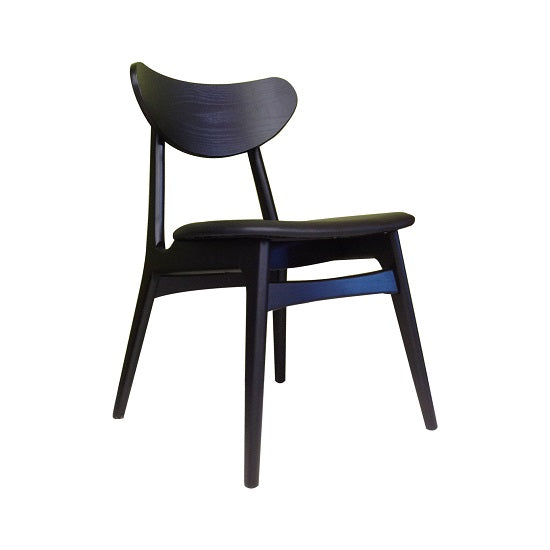 Fin Dining Chair - Black Hardwood Frame, Black PU seat