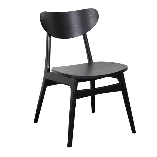 Fin Dining Chair - Black Timber Frame and Seat