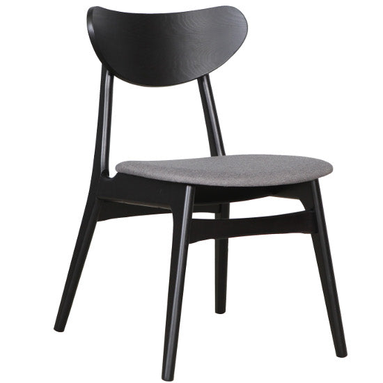 Fin Dining Chair - Black frame with Grey (truffle) Fabric Seat