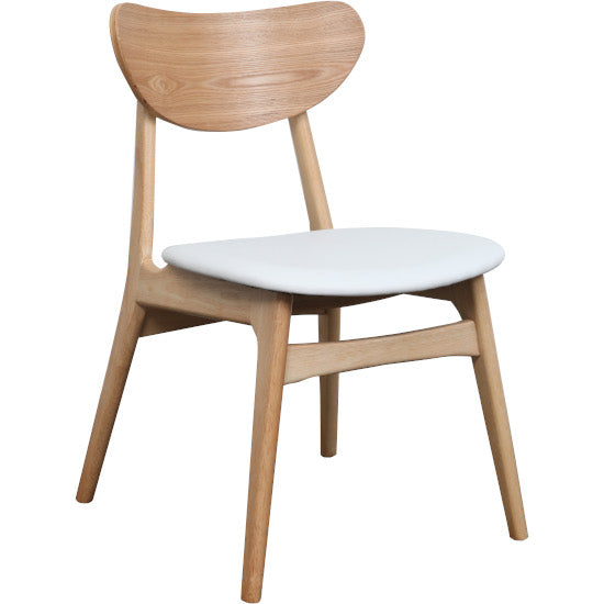 Fin Dining Chair - Natural light timber frame with White PU cushion seat