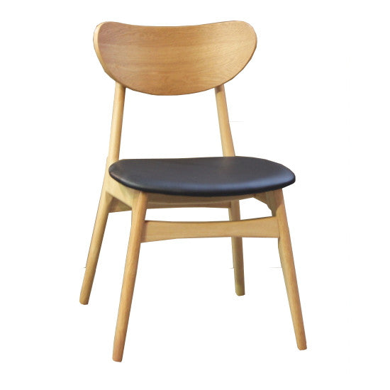 Fin Dining Chair - Natural Frame and Black PU seat