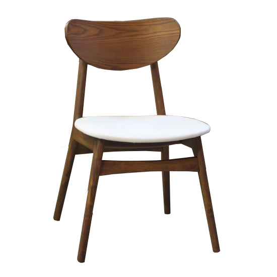 Fin Dining Chair - Teak stained timber frame with White Cushion PU Seat