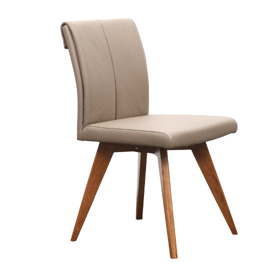 Hendriks Leather Chair (Mocha LEATHER/Teak finish Leg)