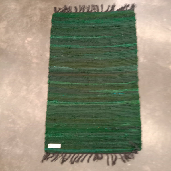 Cotton Chindi Dark Green Tonal Rug Mat 50 x80 cm