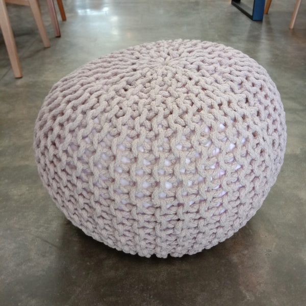 Plaited Pouf Ottoman Footstool - Pale Pink