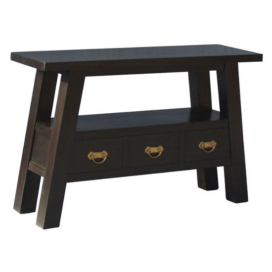 Japanese 3 Drawer Hall Table (Chocolate)