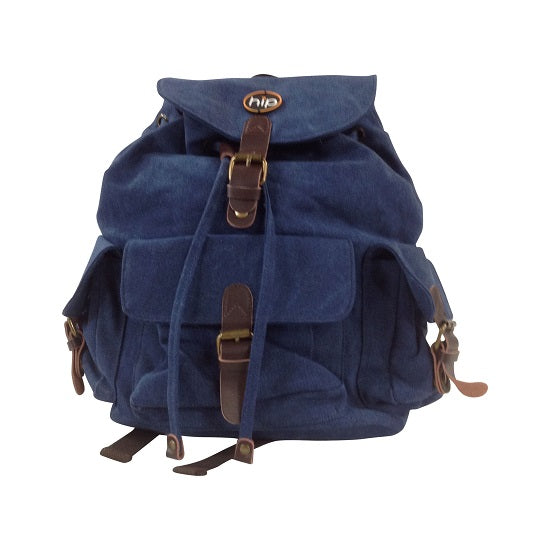 Back Pack Canvas Leather accents 3 Pockets BLUE DENIM
