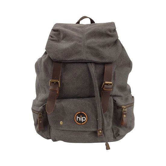 Back Pack Canvas Leather accents 3 Pockets GREY