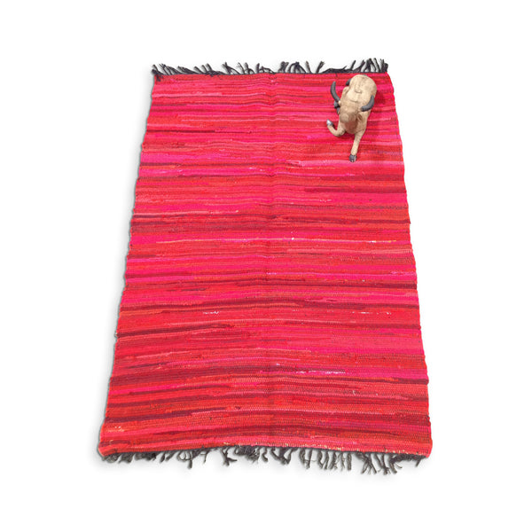Cotton Chindi Red Tonal Rug - 120cm x 180cm