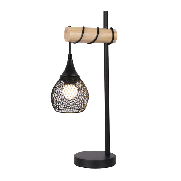 Lars Mesh Black Metal and Hardwood Table Lamp