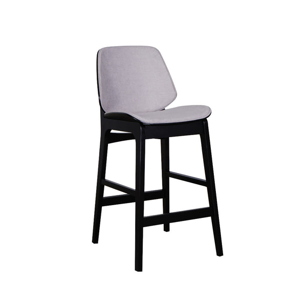 Lisbon Counter Barstool Black Frame Pewter Seat