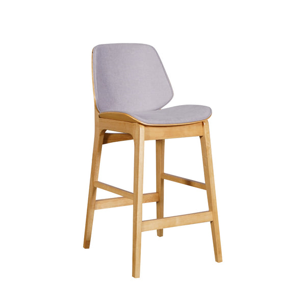 Lisbon Counter Barstool Natural Frame Pewter Seat