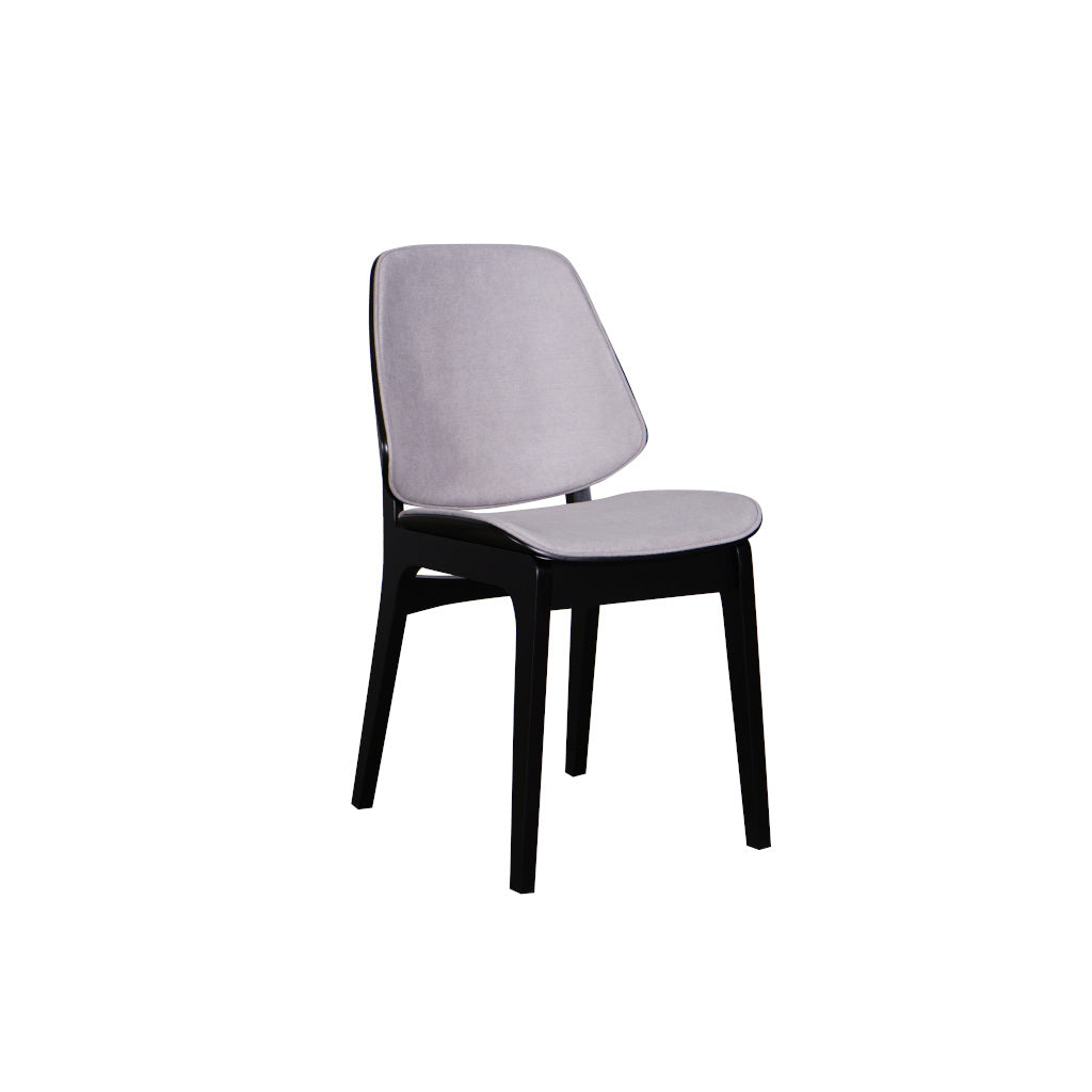 Lisbon Dining Chair Black Frame Pewter Fabric