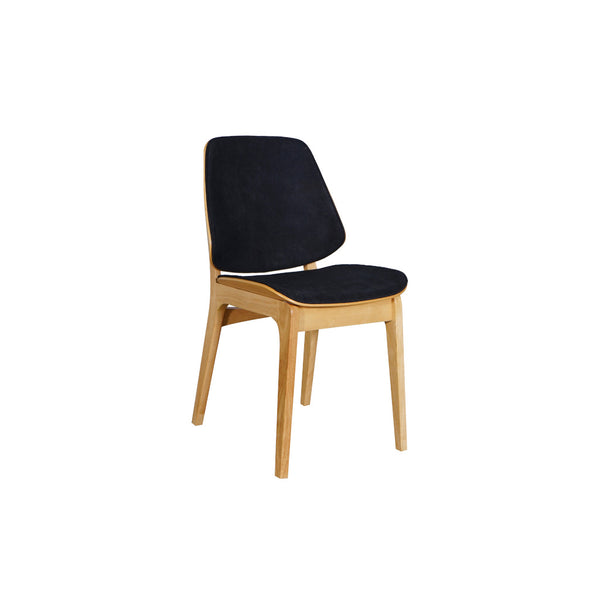 Lisbon Dining Chair Natural Frame Ebony Fabric